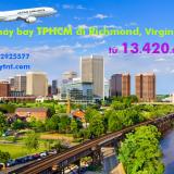 Vé máy bay TPHCM đi Richmond, Virginia, Mỹ Japan Airlines từ 13.420k